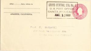 United States California 1933 Postal History