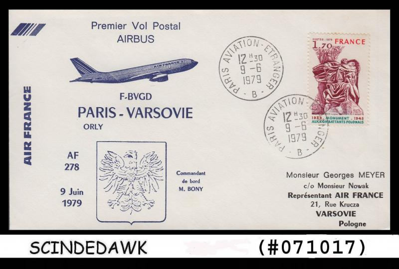 FRANCE - 1979 AIR FRANCE AIRBUS AF 278 PARIS to VERSOVIE FIRST FLIGHT COVER