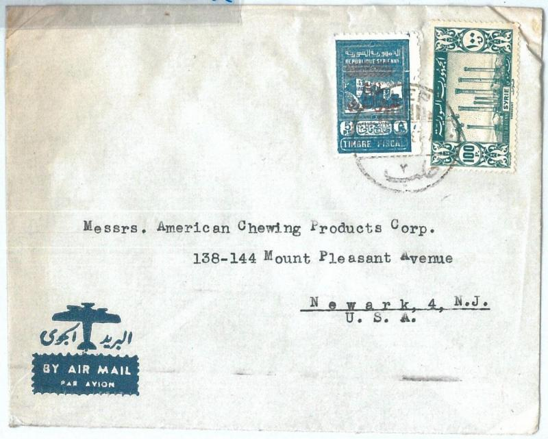 71142 - SYRIA - POSTAL HISTORY -  COVER  to  the United States 1940's - REVENUE