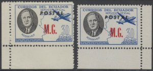 ECUADOR 1949 ROOSEVELT OFFICIAL Bts O225 UNRECORDED PERF 11 MATTE & CHALKY PAPER