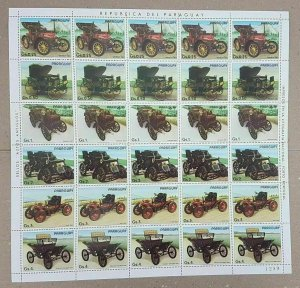 EC142 1986 PARAGUAY CARS AUTOMOBILES !!! MICHEL 22 EURO BIG SH FOLDED IN 2 MNH
