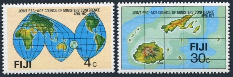 Fiji 374-375,MNH.Michel 361-362. Joint Council of EEC-ACP,1977.Maps
