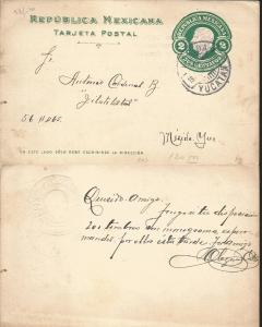 J) 1903 MEXICO, MEXICAN REPUBLIC, 2 CENTS GREEN, POSTCARD, POSTAL STATIONARY, CI