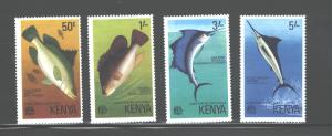 KENYA  1977  FISH  #68 - 71   MNH