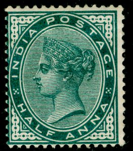 INDIA SG84, ½a deep blue-green, M MINT.