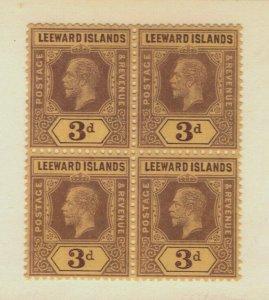 Leeward Islands - SG# 51 / Block of (4) 3 MNH / wmk multi crn CA - Lot 0719373