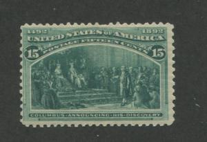 1893 US Stamp #238 15c Mint Hinged Fine Original Gum Catalogue Value $200