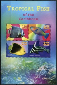 St Kitts Fishes Stamps 2015 MNH Tropical Fish Caribbean Angelfish 4v M/S II