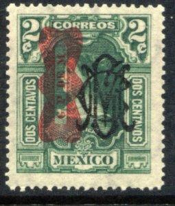 MEXICO 552, 2¢ CORBATA & VILLA MONOGRAM REVOLUT OVPT. UNUSED, H OG. VF.