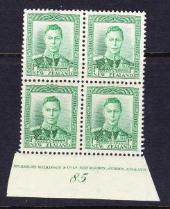 NEW ZEALAND 1938 1d GREEN  KGVI PLATE BLK 4  #85 MNH