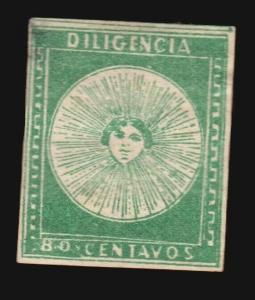 Uruguay 1856 80c Green Diligencia SUPERB example #2 MH W/Gum position 33 w/Cert.