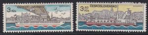 Czechoslovakia # 2424-2425, Danube Ships, LH, 1/3 Cat