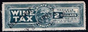 US STAMP STATE OF OHIO $2 WINE TAX PAID STAMP