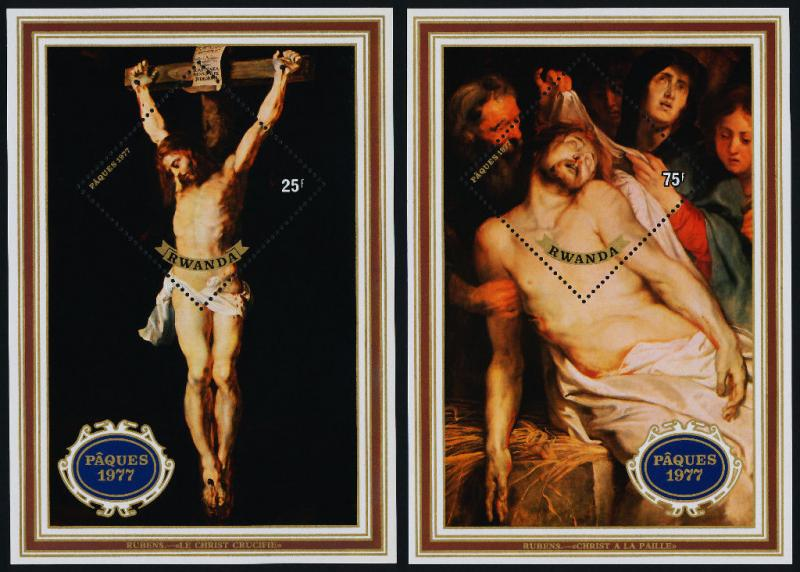 Rwanda 799-800 MNH Easter, Art, Rubens, Descent from the Cross, Crucifixion