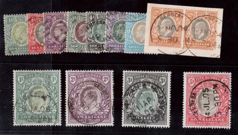 Somaliland Protectorate #27 - #39 (SG #32 - #44) VF Used Set With CDS Cancels