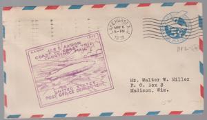 1934 USS Akron Airship zeppelin cover Coast flight Orange Roessler Cinderella