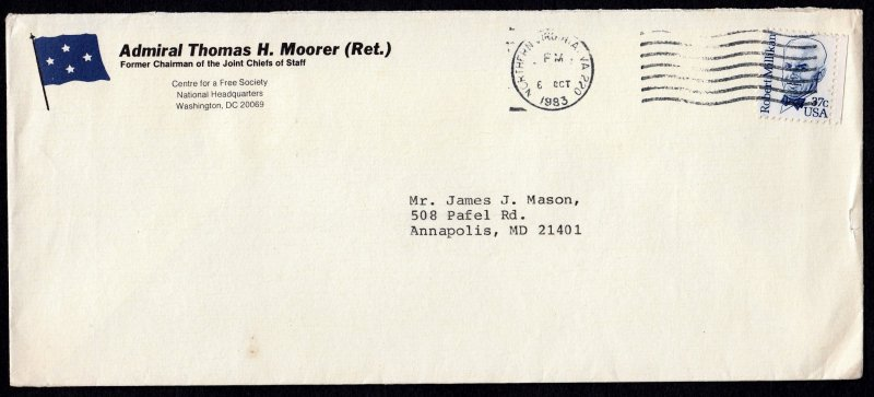 U.S. #1866 on a Used Cover From Admiral Thomas H. Moorer (Ret.), Postmark 1983