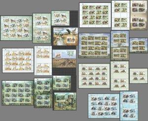 KS 2008-2012 WWF BIRDS ANIMALS SECRETARYBIRDS MONKEYS FAUNA 7SH+12KB+3BL MNH