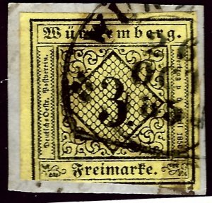 Wurttemberg SC#2 Used on piece F-VF...Worth a close look!!