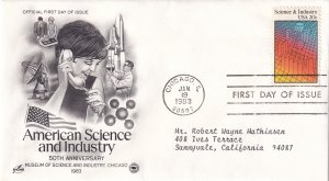 1983, 50th Anniv. Science & Industry, Art Craft/PCS, FDC (E12267)