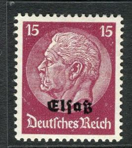 GERMANY;  ALSACE 1940 early Hindenburg Optd. issue Mint hinged 15pf. value