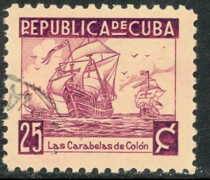 CUBA 1937 25c FLEET COLOMBUS American Writers and Artist Assoc Issue Sc 354 VFU