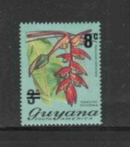 GUYANA #209 1975 8c on 3c FLOWER MINT VF NH O.G