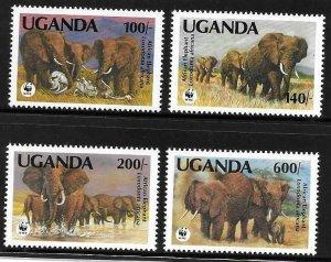 1991    Thematics -  UGANDA  -  SG. 988 / 991  -  AFRICAN ELEPHANT - WWF - UMM