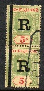 Fiji: 1927 KGV 5/- pair SG 241 Revenue ovpt. 'R' used