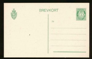 NORWAY Mi. P54 POSTAL STATIONERY POSTAL CARD 5o GREEN