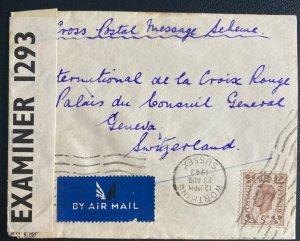 1943 Worthing England Censored Airmail Cover To Red Cross Geneva Switzerland