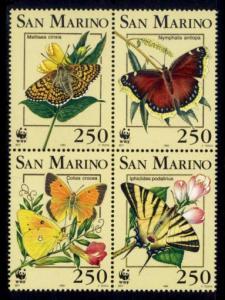 San Marino MNH Block 1284a Butterflies WWF 1993