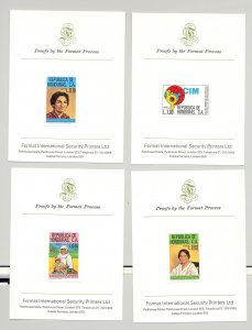 Honduras #C695-C698 Women's Commission 4v Imperf Proofs Mounted on Cards