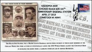 19-084, 2019, Chicago Black Sox, Pictorial Postmark, Event Cover, Baseball Scand