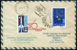 Poland #1296  Used - 6th Experimental Rocket Flight Cover 3.2.65 (1965)
