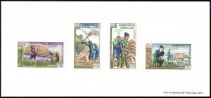 Laos 84a S/S, MNH. FAO Freedom from Hunger campaign. Rice harvest, 1963