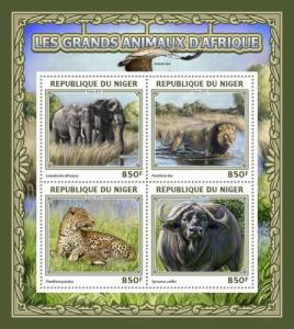 NIGER 2016 SHEET ELEPHANTS BUFFALOES WILD CATS FELINES WILDLIFE nig16501a