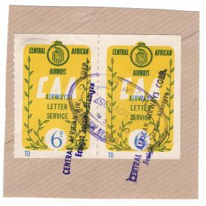 (I.B) Rhodesia Cinderella : Central African Airways Letter Service 6d (type II)