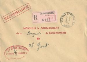 France Military Free Mail 1972 Chalons s/ Marne RP, Marne Registered to Briga...