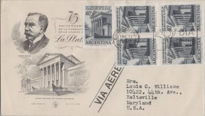 ARGENTINA POSTAL HISTORY PHILATELIC FDC COVER ADDR SPECIAL CANC YR'1958