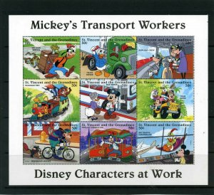 ST.VINCENT 1996 DISNEY MICKEY,S TRANSPORT WORKERS SHEET OF 9 STAMPS MNH