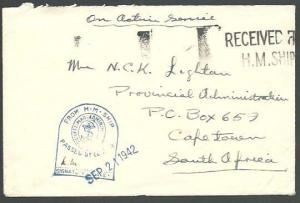 GB SOUTH AFRICA 1942 OAS cover censor RECEIVED FROM HM SHIP................59071