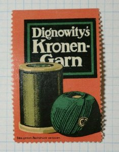 Dignowity's Crown Yarn German Brand Poster Stamp Ads