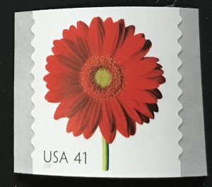 US MNH #4169 Coil Single Red Gerbera Daisy Beautiful Blooms SCV $2.00