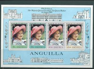 Anguilla #397a Queen Mother 80th BD  S/S of 4 (MNH) CV$6.00