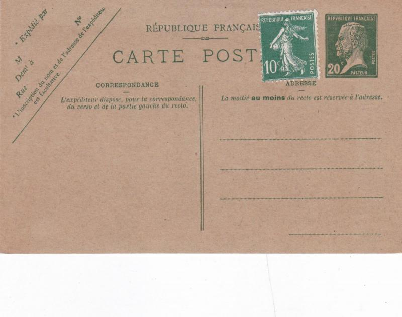 France 1920,s 20c+10c prepaid Postcard Unused VGC
