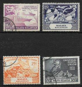 MALAYA KELANTAN SG57/60 1949 U.P.U. SET USED