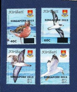 KIRIBATI - Scott 1021-1024- FVF MNH - Birds, Singapore 2015 overprint - 2015