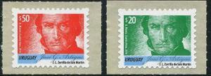 HERRICKSTAMP NEW ISSUES URUGUAY Sc.# 2553, 2555 Artigas 2016 - Red & Green