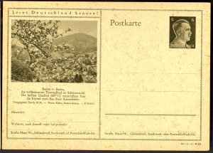 GERMANY 1941 6pf HITLER HEAD Learn to Know Germany Postal Card 41-1-1-B23 Unused